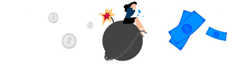 ilustração mostra mulher sentada em uma bomba e algumas notas de dinheiro em volta
