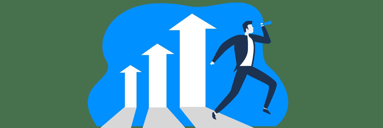 Ilustração mostra humano caminhando enquanto olha em uma luneta e atrás dele gráficos em barra indicam crescimento.