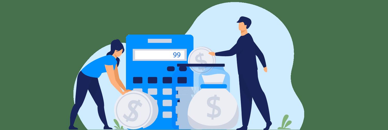 Ilustração mostra duas pessoas interagindo com ícones que representam finanças, como moedas, calculadora e saco de dinheiro.