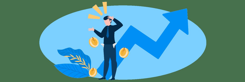 Ilustração mostra um homem com um ícone de gráfico subindo ao fundo e algumas moedas em volta.