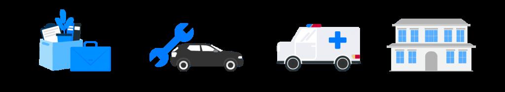 Ícones gráfico de maleta, carro, ferramenta, ambulância e casa mostrando exemplos de reserva de emergência