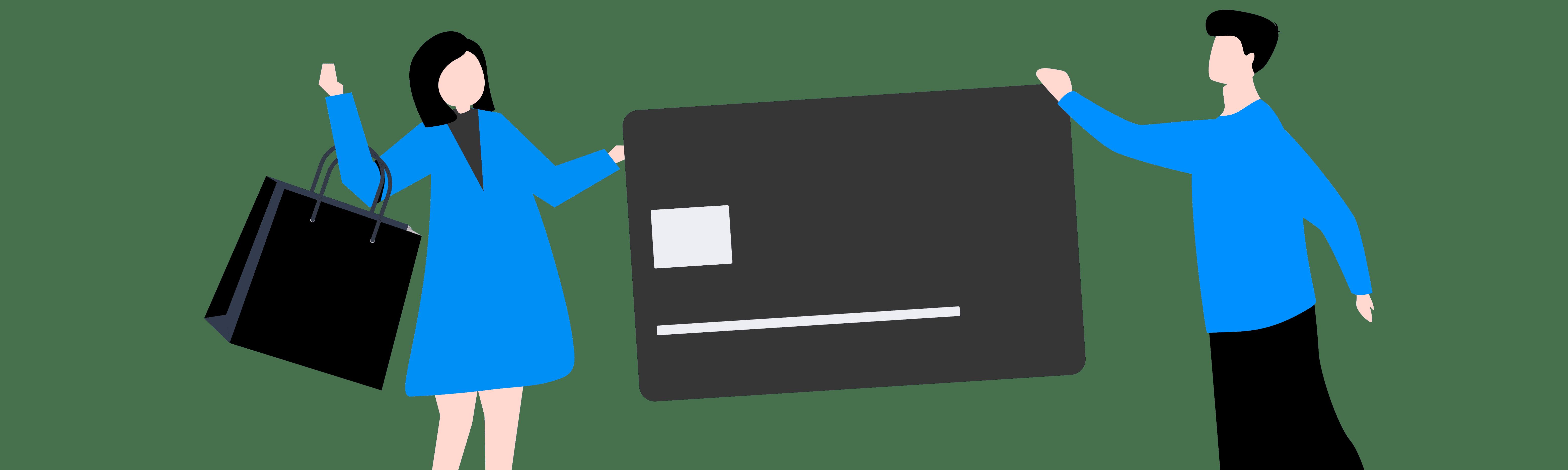 Ilustração lúdica mostra um homem e uma mulher segurando um cartão de crédito gigante e algumas sacolas de compras.